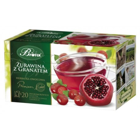 Herbata Bifix Premium Żurawina z granatem  - ekspresowa w kopertkach