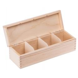 Pudełko drewniane na herbatę 4 przegródki