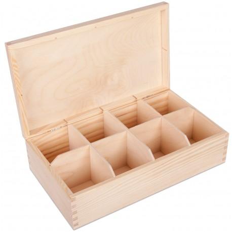 Pudełko drewniane na herbatę 8 przegródek