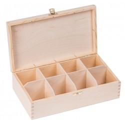 Pudełko drewniane na herbatę 8 przegródek z zapinką