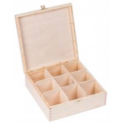 Pudełko drewniane na herbatę 9 przegródek z zapinką