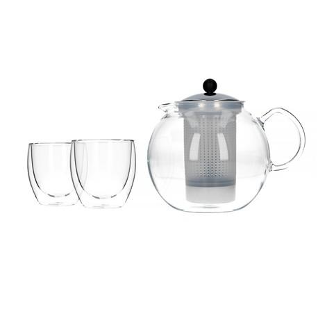 Dzbanek do parzenia herbaty Bodum Assam ze stalowym filtrem 1,5 ml + dwie szklanki Pavina o pojemności 250 ml