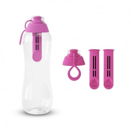 Zestaw Butelka filtrująca+ Filtry z zakrętką kolor flamingowy