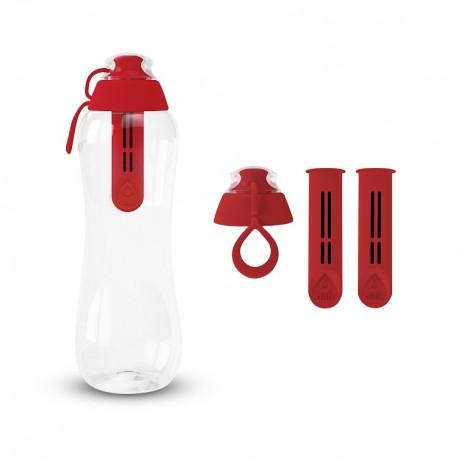 Zestaw Butelka filtrująca+ Filtry z zakrętką kolor makowy