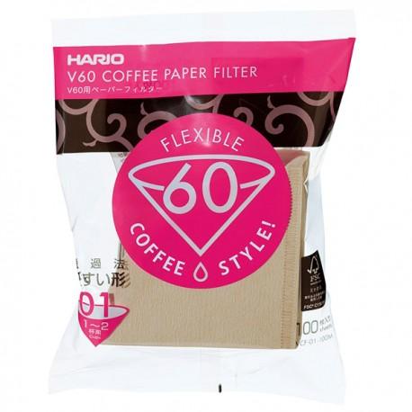 Filtry papierowe do Drippera V60-01 Hario Misarashi brązowe