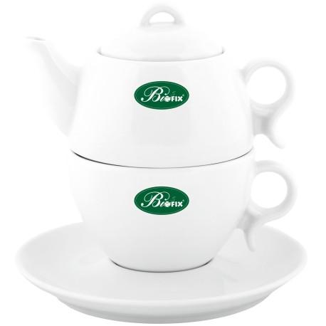 Czajniczek z filiżanką do zaparzenia herbaty