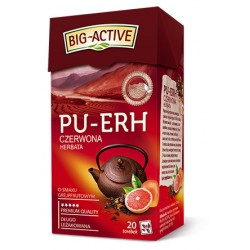 Herbata czerwona PU-ERH BIG-ACTIVE z aromatem grejpfruta 20 torebek