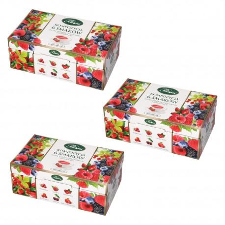 Kompozycja 6 smaków Herbat owocowych - trójpak