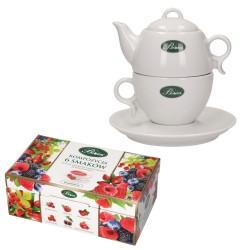 Zestaw Kompozycja 6 smaków herbat owocowych + czajniczek z filiżanką do zaparzenia herbaty