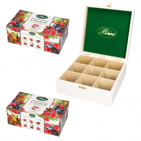 Zestaw kompozycja 6 smaków herbat owocowych + prezenter drewniany bifix kolor biały