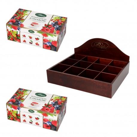 Zestaw kompozycja 6 smaków herbat owocowych + prezenter drewniany Bifix kolor brązowy