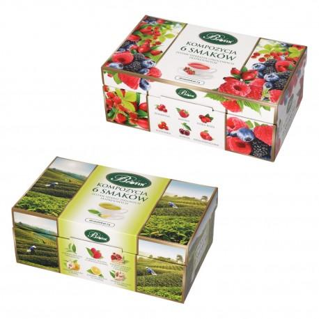 Zestaw dwóch kompozycji herbat Bifix 6 smaków, owocowa + zielona
