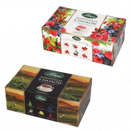 Zestaw dwóch kompozycji herbat Bifix 6 smaków, owocowa + czarna