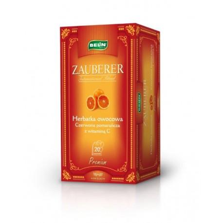 Herbata Belin ZAUBERER owocowa o smaku czerwonej pomarańczy 20 kopert