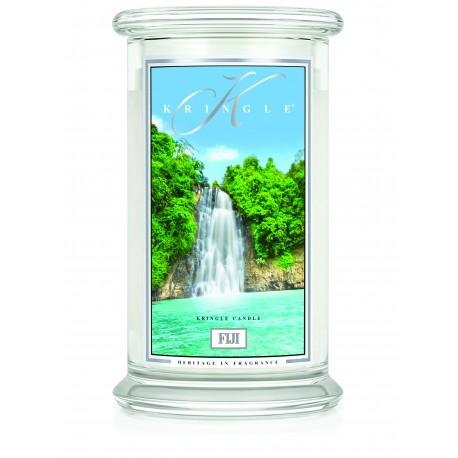 Aromatyczna świeca Kringle Candle Fiji w zamykanym szklanym słoiku