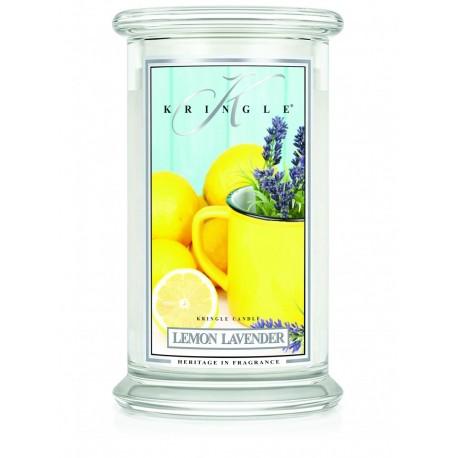 Aromatyczna świeca Kringle Candle Lemon Lavender w zamykanym szklanym słoiku