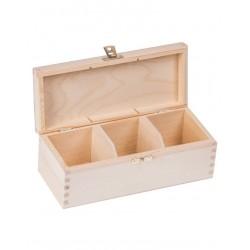 Pudełko drewniane na herbatę 3 przegródki z zapinką