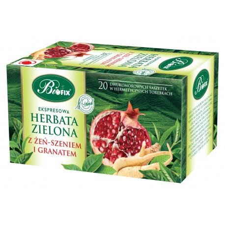 Herbata zielona z żeń-szeniem i granatem ekspresowa w kopertkach