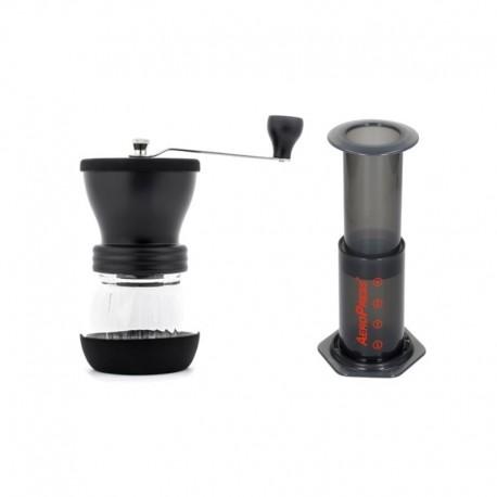 Zestaw do kawy Młynek Hario Skerton + zaparzacz AeroPress 250 ml