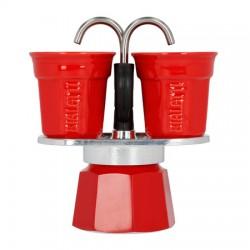 Kawiarka Bialetti Mini Express 2tz czerwona + 2 filiżanki