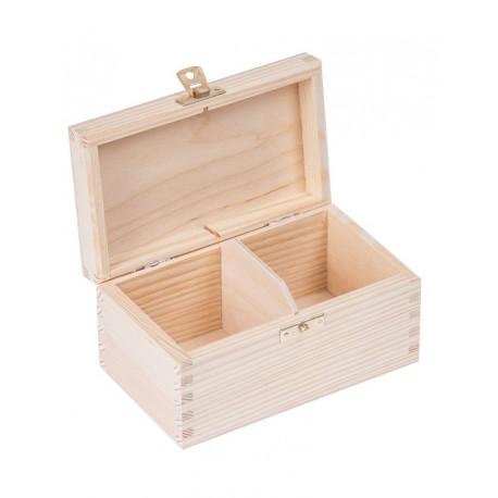 Pudełko drewniane na herbatę 2 przegródki z zapinką
