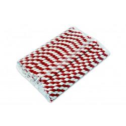 Słomki papierowe 8 mm biało-czerwone paski