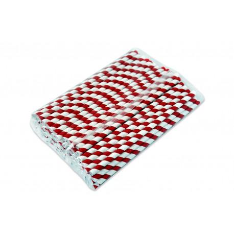 Słomka papierowa 8 mm biało-czerwona paski