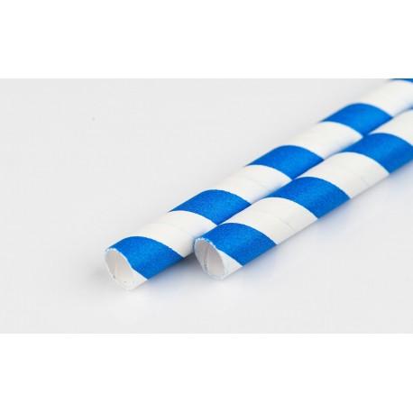Słomka papierowa 8 mm biało-niebieska paski