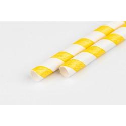 Słomka papierowa 8 mm biało żółta