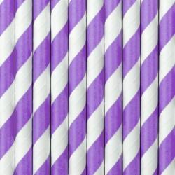 Słomka papierowa 8 mm biało fioletowa