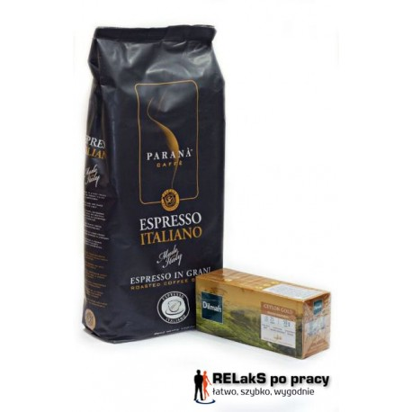 Kawa PARANÀ espresso italiano 1 kg. plus Herbata Dilmah Ceylon Gold 25 torebek