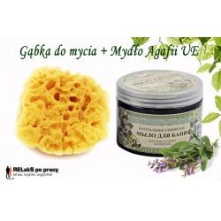Zestaw naturalna morska gąbka plus mydło syberyjskie czarne ziołowe Babci Agafii EU