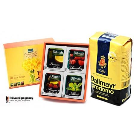 Zestaw kawa ziarnista Dallmayr Prodomo  500 g. plus herbaciana bombonierka Dilmah 40 kopert