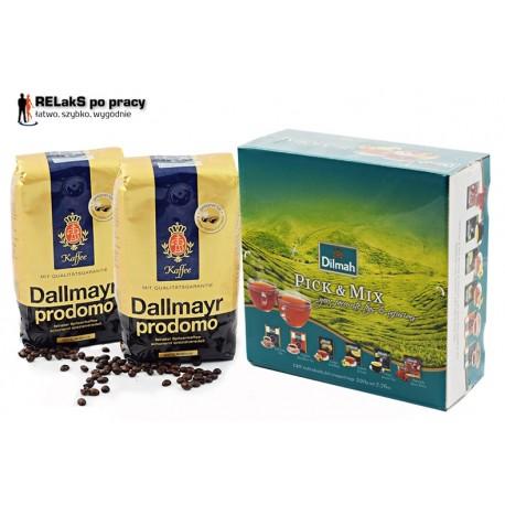 Zestaw kawa ziarnista Dallmayr Prodomo  500 g. plus  Herbata Dilmah Pick'N'Mix Junior