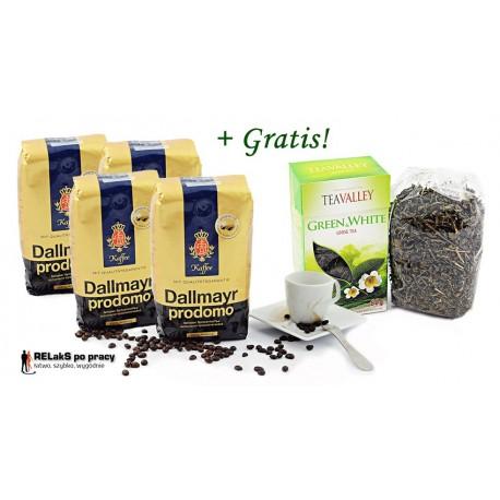Zestaw kawa ziarnista Dallmayr Prodomo  2 kg. plus herbata zielona i biała liściasta TEAVALLEY 80 g gratis