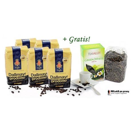 Zestaw kawa ziarnista Dallmayr Prodomo 2,5 kg. plus herbata zielona i biała liściasta TEAVALLEY 80 g gratis.