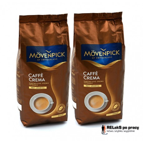 Duopak kawa ziarnista MOVENPICK Caffe Crema 1 kg + 1 kg