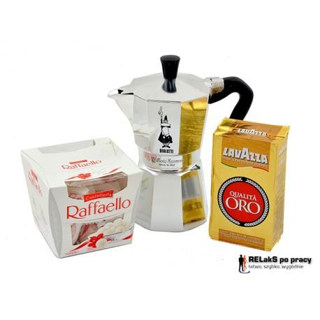 Zestaw Kawiarka Bialetti Moka Express 4tz plus kawa Lavazza i praliny Rafaello