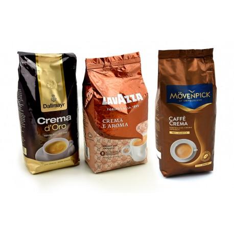 Zestaw kaw ziarnistych Crema Dallmayr, Lavazza, MOVENPICK 3 x 1 kg