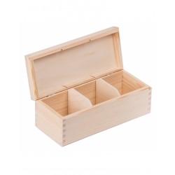 Pudełko drewniane na herbatę 3 przegródki