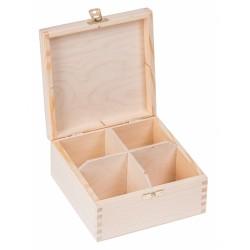 Pudełko drewniane na herbatę 4 przegródki z zapinką