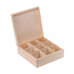 Pudełko drewniane na herbatę 9 przegródek