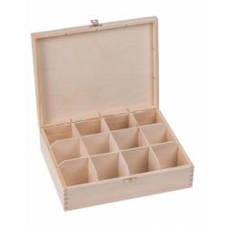 Pudełko drewniane na herbatę 12  przegródek z zapinką