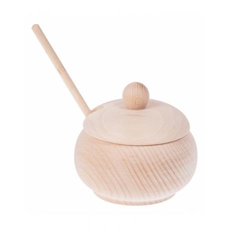 Drewniana cukiernica duża + drewniana łyżeczka